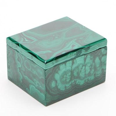 Carved Malachite Trinket Box