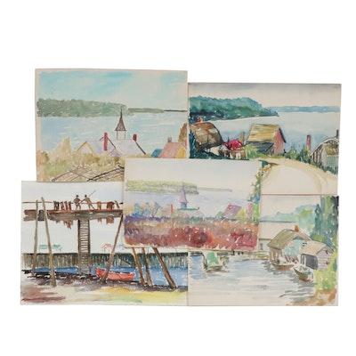 Charles Frederick Wiley Coastal Village Scene Watercolor Paintings