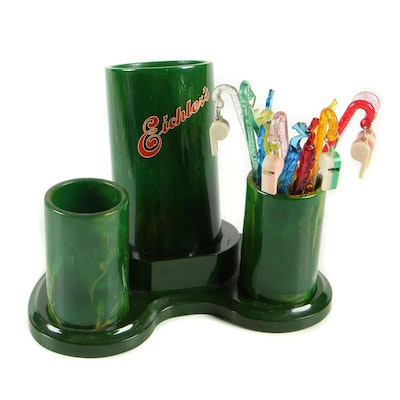 Eichler's Beer Celluloid Bar Caddy with Swizzle Sticks, Vintage