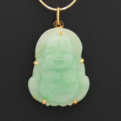 Sterling Silver Snake Chain with Jadeite Buddha Pendant Necklace