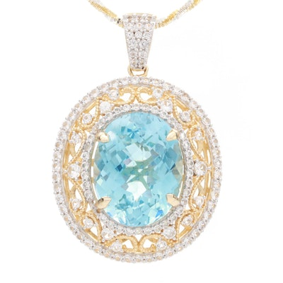 Sterling Silver Blue Topaz and White Sapphire Pendant Necklace