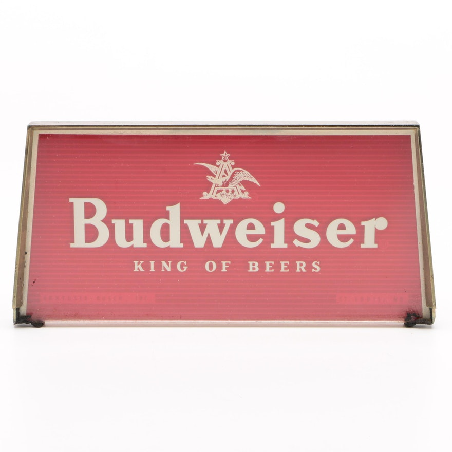 "Budweiser ""King of Beers"" Glass Bar Sign, Mid 20th Century"