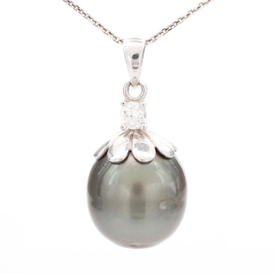 Sterling Silver Cubic Zirconia and Cultured Pearl Pendant Necklace