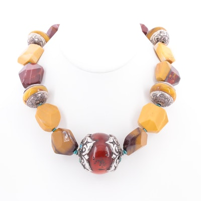 Sterling Silver Amber, Jasper and Turquoise Beaded Necklace