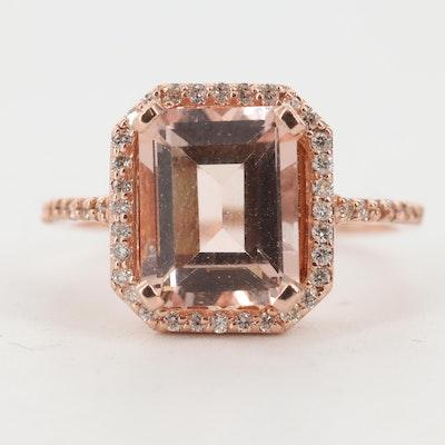 14K Rose Gold 2.95 CT Morganite with Diamond Halo Ring