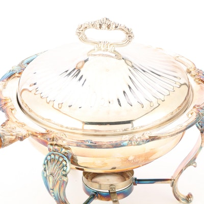 Silver Plated Covered Chafing Dish-on-Stand