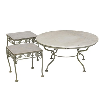 Outdoor Patio Coffee Table and Side Tables with Stone Tops