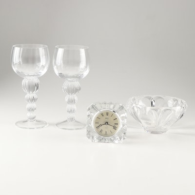 Crystal Candle Holders, Lenox Crystal Bowl and Mikasa Crystal Desk Clock