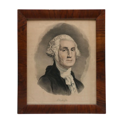 Hand-Colored Lithograph of George Washington Portrait