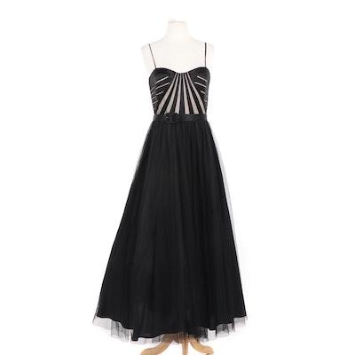 Aidan Mattox Black Silk and Tulle Strapless Evening Dress