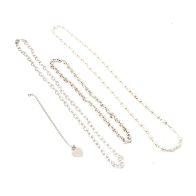 Sterling Silver Necklaces and Bracelet
