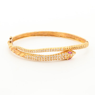 18K Yellow Gold Ruby and 1.47 CTW Diamond Snake Bangle Bracelet