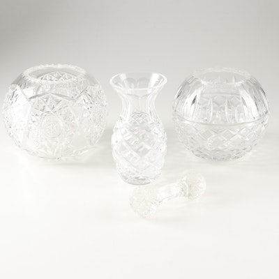 Crystal Vase, Rose Bowls, and Knife Rest, Early to Late 20th Century