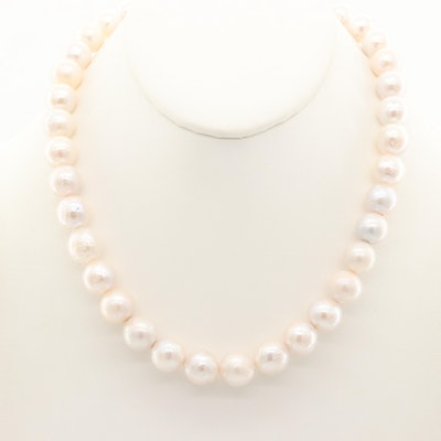 Cultured Pearl Beaded Necklace with Sterling Silver Clasp