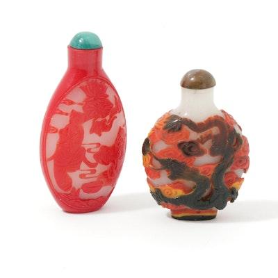 Chinese Peking Glass Pair of Snuff Bottles