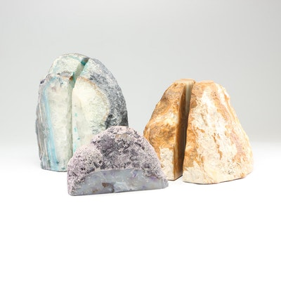 Quartz, Banded Agate, and Banded Calcite Specimen Bookends