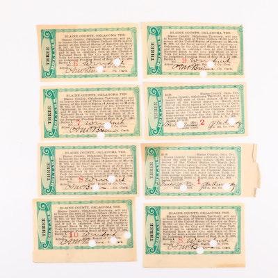 Eight 1898 & 1899 Blaine County, OK $3 Bond Coupons