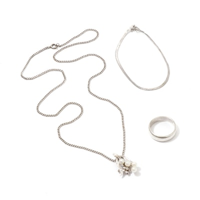 Pearl & Diamond Sterling Silver Pendant Necklace, Bracelet & Ring
