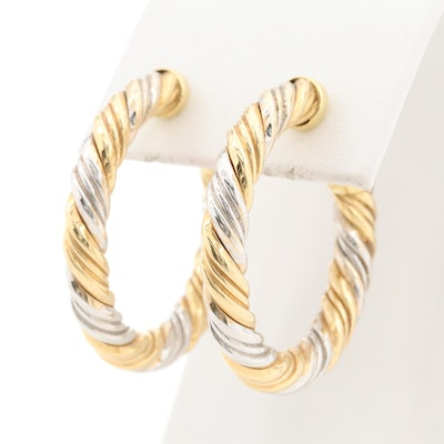 18K Yellow and White Gold Hoop Earrings