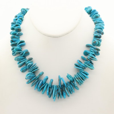 Sterling Silver Turquoise Graduated Beaded Necklace