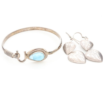 Sterling Silver Larimar Bracelet with Heart Dangle Earrings