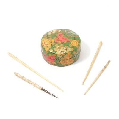 Pin Box and Bone Handle Crochet Hooks