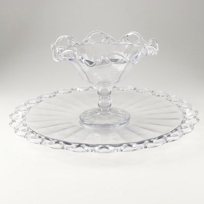 """Vintage Imperial Glass """"Crocheted Crystal"""" Torte Plate and Epergne Bowl"""