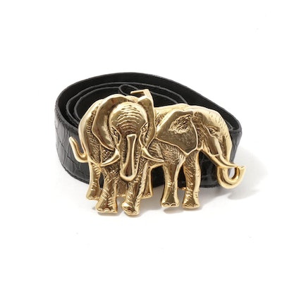 Gold Wash Metal Elephant and Croc Embossed Black Patent Leather Belt, 1980s