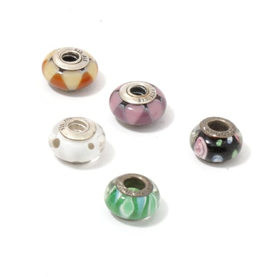 Sterling Silver Colored Glass Beads