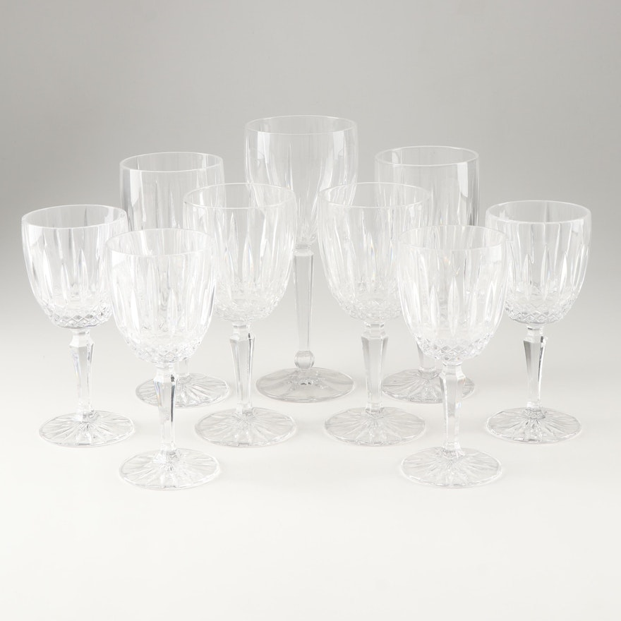 Waterford Style Crystal Goblets and Wine Glasses