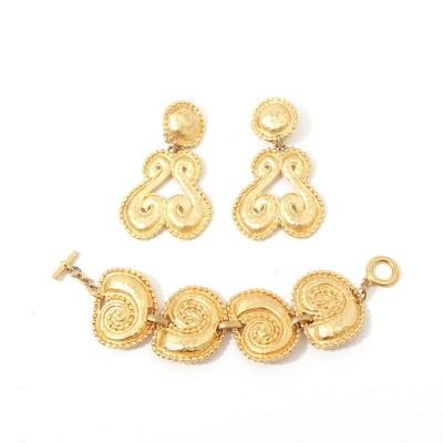 Edouard Rambaud Gold Tone Statement Earrings and Bracelet