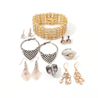 Sterling Silver and Costume Jewelry Collection with Cubic Zirconia