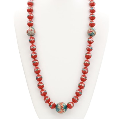 Vintage Asian Inspired Cinnabar Enamel Beaded Necklace