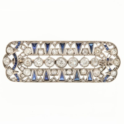 Art Deco 800 Silver 4.16 CTW Diamond and Sapphire Brooch