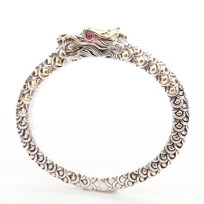 """John Hardy """"Naga Collection"""" Sterling Dragon Bracelet with Ruby and 18K Accents"""