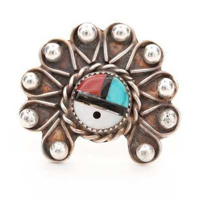 Southwestern Style Sterling Silver Turquoise, Jasper and Mother of Pearl Ring