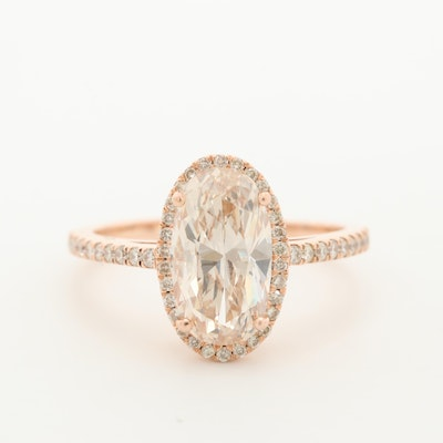 14K Rose Gold 2.73 CTW Diamond Ring with GIA Report