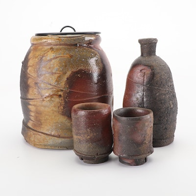 Wood and Salt Fired Lidded Stoneware Canister and Sake Carafe and Cups