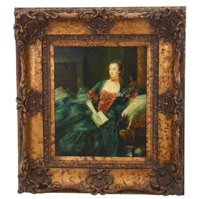 """Copy Oil Painting After François Boucher """"Portrait de la Marquise de Pompadour"""""""