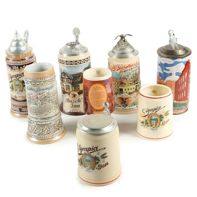 Stoneware and Ceramic Beer Steins including Yuengling Signature Series Stein