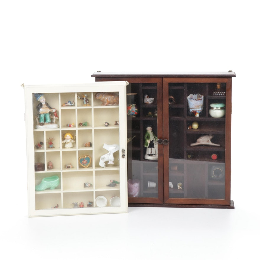 Eclectic Miniatures in Wall Display Cabinets