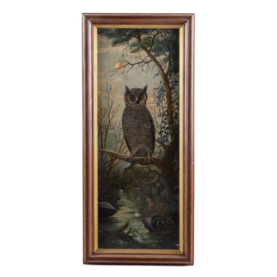 Early 20th Century Oil Painting of an Owl