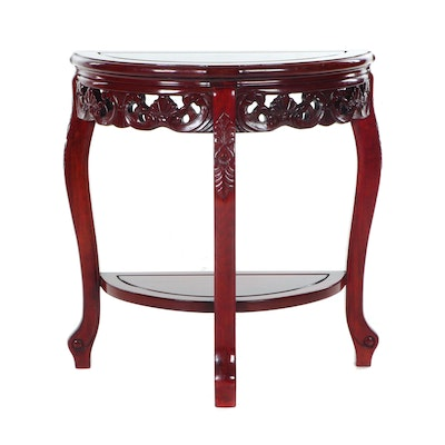 Chinese Style Rosewood Veneered Demilune Side Table, Contemporary
