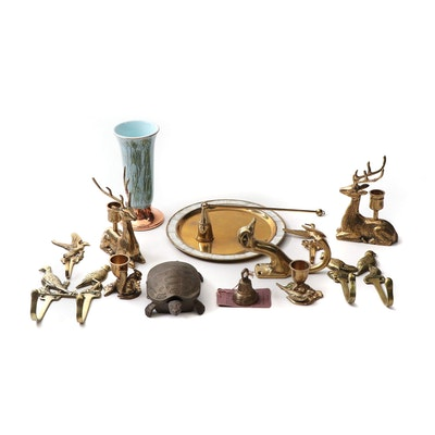 Brass Plated Figural Decor Featuring Stag Candleholders, Turtle Box, and Hooks