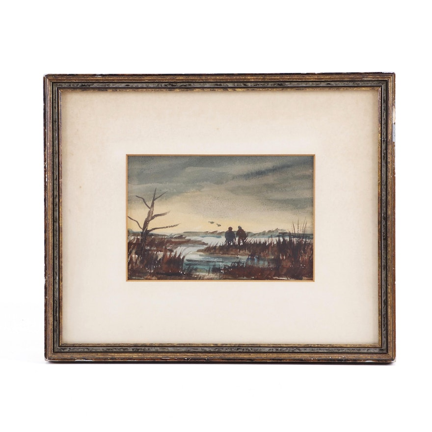 Duck Hunting Landscape Watercolor Painting