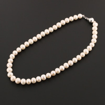 Sterling Silver Cultured Pearl Beaded Necklace