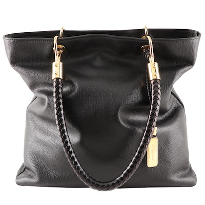 Michael Kors Black Grained Leather Tote With Braided Handles