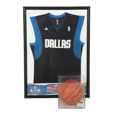Dallas Mavericks Autographed Ball and Tickets with All-Star Jersey in Frame