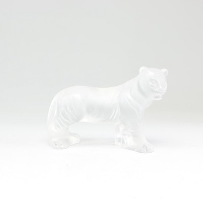 "Retired Lalique Frosted Crystal ""Bengal Tiger"" Figurine"
