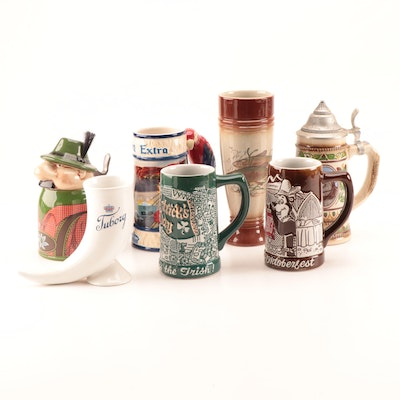 Stoneware Beer Steins, Glass, and Horn including Gerz and Ceramarte